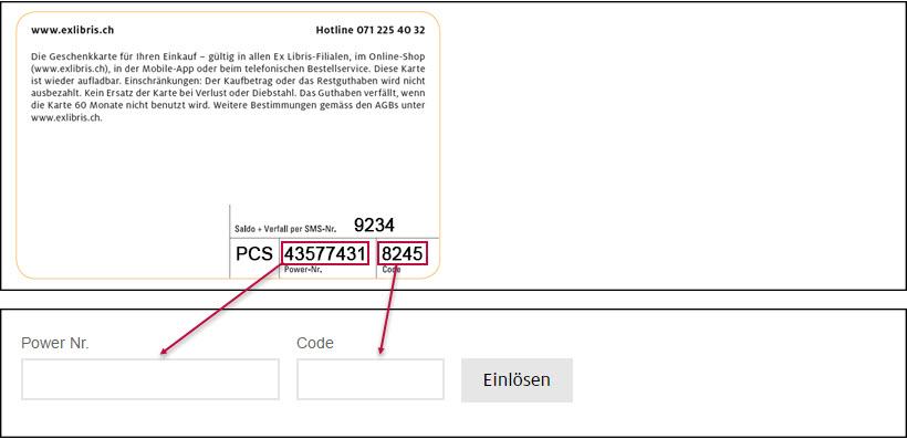 Power numéro et le code de la Carte-cadeau ou bon électronique