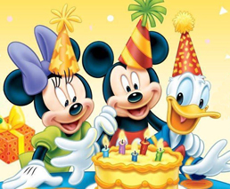 Micky, Minnie & Donald Duck feiern Geburtstag