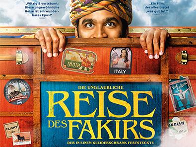 Das Filmplakat zu «Die unglaubliche Reise des Fakirs» mit Dhanush als Kofferpassagier Aja.