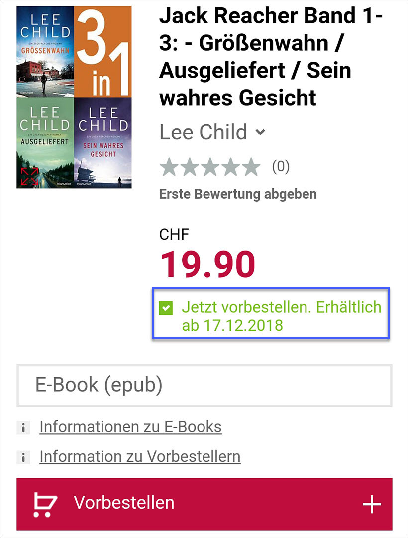 E-Book Jack Reacher Band 1-3 vorbestellen