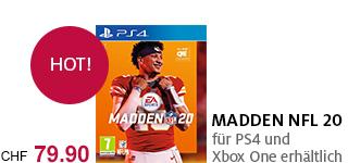 «Madden NFL 20» jetzt portofrei für die PS4 & Xbox One bestellen.