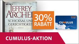 Dank Cumulus-Angebot von 30% Rabatt auf «Schicksal und Gerechtigkeit» von Jeffrey Archer profitieren