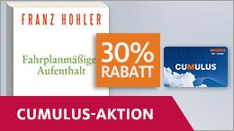 Von 30% Rabatt auf «Fahrplanmässiger Aufenthalt» von Franz Hohler profitieren dank Cumulus-Angebot.