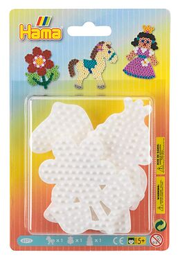 Hama 4571 - Stiftplatten 3er-Set, Pony, Blume und Prinzessin, Stiftplatten für Midi-Bügelperlen Spiel