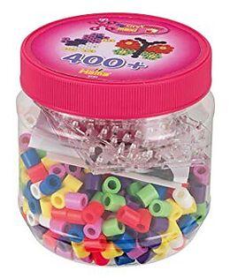 Hama 8791 - Bügelperlen, Dose mit 400 Maxi-Perlen und 2 Stiftplatten (Quadrat und Schmetterling) Spiel