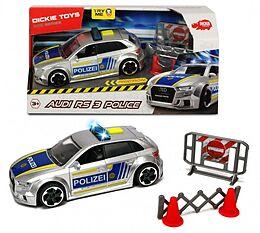 Dickie Toys 203713011 - SOS Series, Auto RS 3 Police, Polizeiauto mit Friktion, Licht & Sound, Zubehör, 1:32, 15 cm, silber/blau Spiel