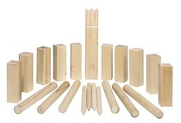 Goki 56875 - Wikingerspiel KUBB, mittlere Größe, im Baumwollbeutel Spiel