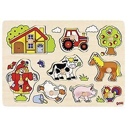Steckpuzzle Bauernhof VII 30 x 21 cm per Stück Spiel Goki Holz 8 Teile