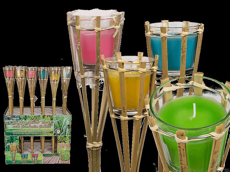 Bambus Gartenfackel Mit Citronellakerze Im Glas Online Kaufen