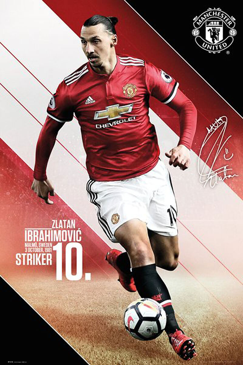Fussball Manchester United Ibrahimovic 17 18 Action Poster