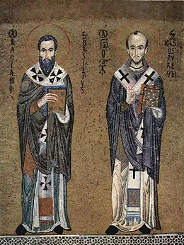 Meister der Palastkapelle in Palermo - Hl. Basilius der Große und Hl. Johannes Chrysostomus - 1.000 Teile (Puzzle) Spiel