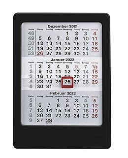 Kalender 3-Monats-Tischaufsteller 2022 schwarz - Tisch-Kalender 12x16 cm - Büro-Kalender - mit Datumsschieber - Alpha Edition von