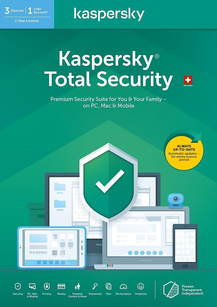 Kaspersky Total Security (3 PC) [PC/Mac/Android] (D/F/I)