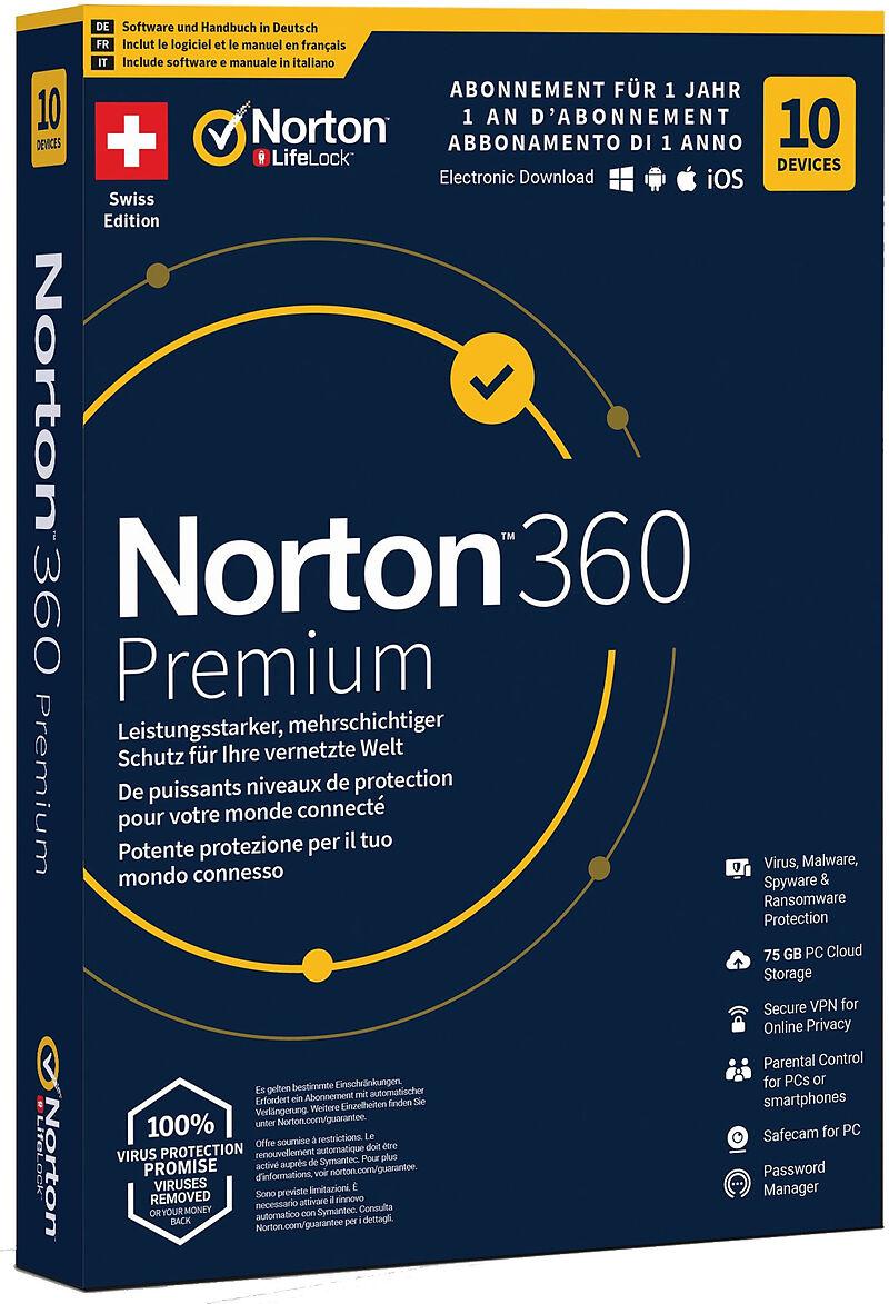 Norton Security 360 Premium 75GB 1 User 10 PC [PC/Mac/Android/iOS] (D/F/I)