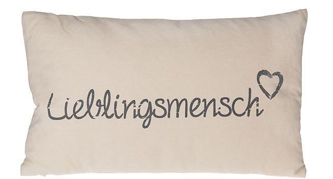 kissen lieblingsmensch beige fun kissen online kaufen. Black Bedroom Furniture Sets. Home Design Ideas