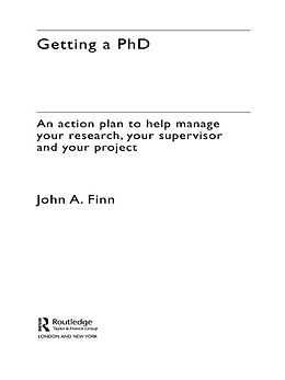 E-Book (epub) Getting a PhD von John Finn