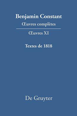 eBook (pdf) Benjamin Constant: uvres complètes. uvres / Textes de 1818 de
