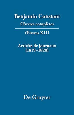 eBook (pdf) Benjamin Constant: uvres complètes. uvres / Articles de journaux (18191820) de