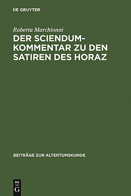 E-Book (pdf) Der Sciendum-Kommentar zu den Satiren des Horaz von Roberta Marchionni