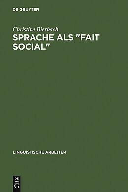 """E-Book (pdf) Sprache als """"Fait social"""" von Christine Bierbach"""