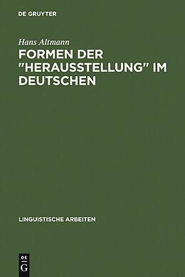 """E-Book (pdf) Formen der """"Herausstellung"""" im Deutschen von Hans Altmann"""