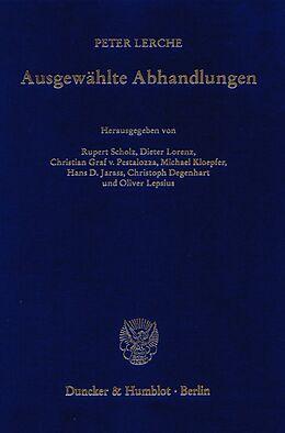 Fester Einband Ausgewählte Abhandlungen. von Peter Lerche