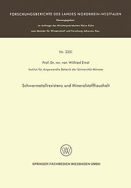 Kartonierter Einband Schwermetallresistenz und Mineralstoffhaushalt von Wilfried Ernst