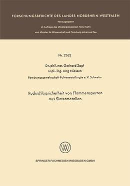 Kartonierter Einband Rückschlagsicherheit von Flammensperren aus Sintermetallen von Gerhard Zapf