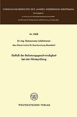 Kartonierter Einband Einfluß der Belastungsgeschwindigkeit bei der Härteprüfung von Ramaswamy Lakshmanan