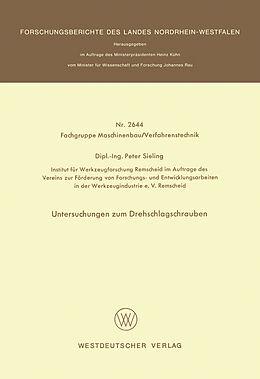 Kartonierter Einband Untersuchungen zum Drehschlagschrauben von Peter Sieling