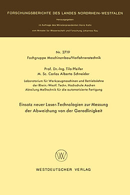 Kartonierter Einband Einsatz neuer Laser-Technologien zur Messung der Abweichung von der Geradlinigkeit von Tilo Pfeifer