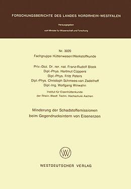 Kartonierter Einband Minderung der Schadstoffemissionen beim Gegendrucksintern von Eisenerzen von Franz-Rudolf Block
