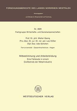 Kartonierter Einband Mitbestimmung und Arbeiterbildung von Walter Georg
