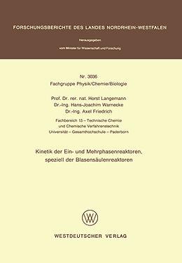 Kartonierter Einband Kinetik der Ein- und Mehrphasenreaktoren, speziell der Blasensäulenreaktoren von Horst Langemann