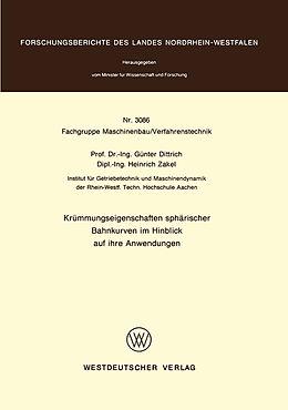 Kartonierter Einband Krümmungseigenschaften sphärischer Bahnkurven im Hinblick auf ihre Anwendungen von Günter Dittrich