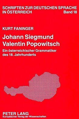 Kartonierter Einband Johann Siegmund Valentin Popowitsch von Kurt Faninger