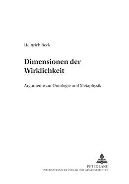 Kartonierter Einband Dimensionen der Wirklichkeit von Heinrich Beck