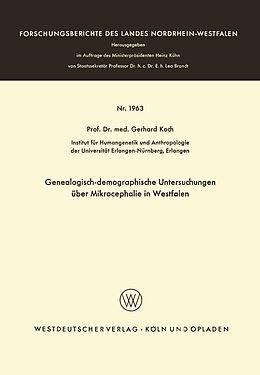 Kartonierter Einband Genealogisch-demographische Untersuchungen über Mikrocephalie in Westfalen von Gerhard Koch