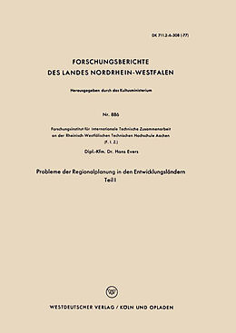 Kartonierter Einband Probleme der Regionalplanung in den Entwicklungsländern von Hans Evers