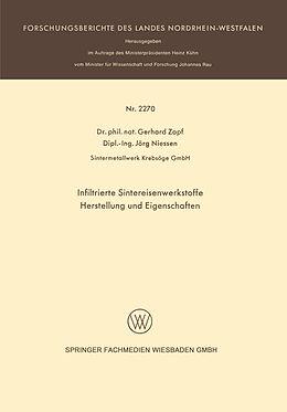 Kartonierter Einband Infiltrierte Sintereisenwerkstoffe von Gerhard Zapf
