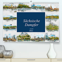 Kalender Sächsische Dampfer Aquarelle (Premium, hochwertiger DIN A2 Wandkalender 2022, Kunstdruck in Hochglanz) von Dirk Meutzner