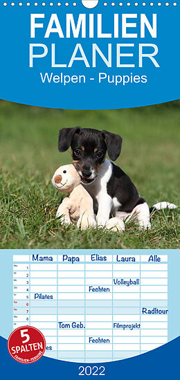 Kalender (Kal) Welpen - Puppies - Familienplaner hoch (Wandkalender 2022 , 21 cm x 45 cm, hoch) von Jeanette Hutfluss