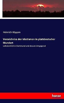 Kartonierter Einband Verzeichniss der Idiotismen in plattdeutscher Mundart von Heinrich Köppen