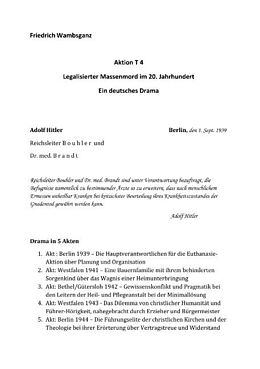 Kartonierter Einband Aktion T4 - Legalisierter Massenmord im 20. Jahrhundert von Friedrich Wambsganz