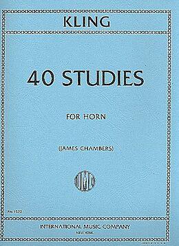 Henri Adrien Louis Kling Notenblätter 40 Studies for horn