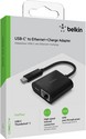 Belkin USB-C to Ethernet + Charge Adapter - black