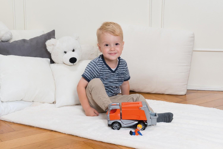 LENA 01623 - Truckies Müllwagen, mit Spielfigur, Müllauto, Sandspielzeug