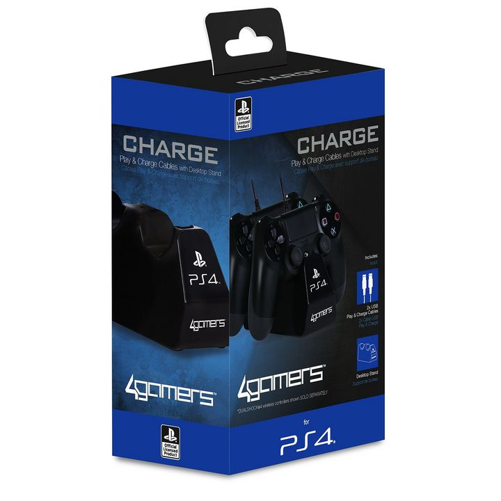 CHARGE - Play + Charge Cables with Desktop Stand - black [PS4]