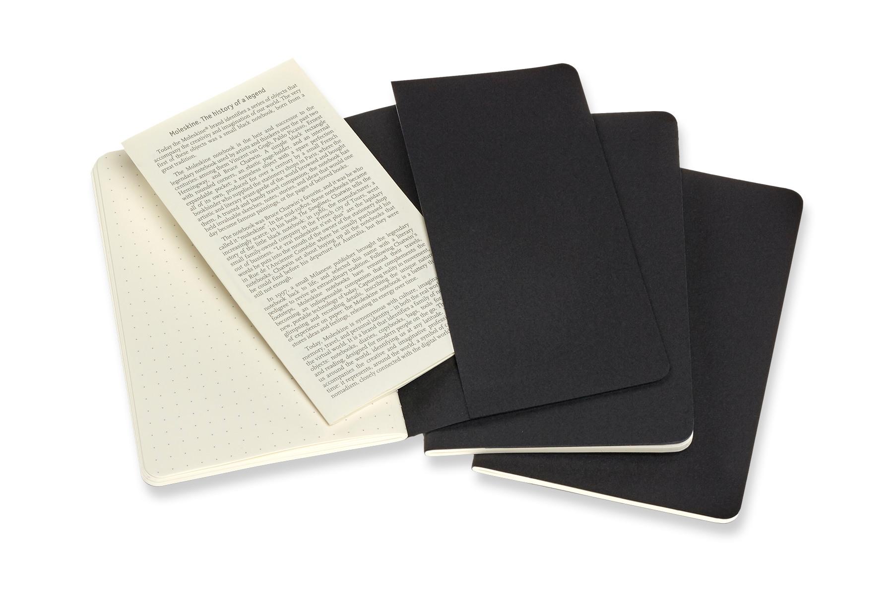 Moleskine Cahier P/A6, 3x Set, Dotted, Carton Cover, Black