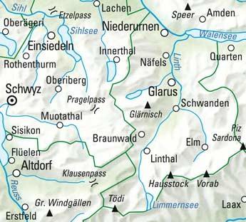 Glarnerland - Muotatal - Klausenpass Nr. 12 Wanderkarte 1:60 000